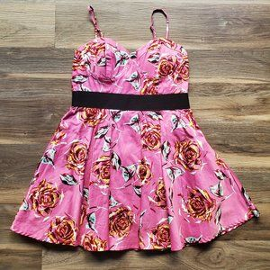 EUC! Barbie Style Fit and Flare Floral Print Dress